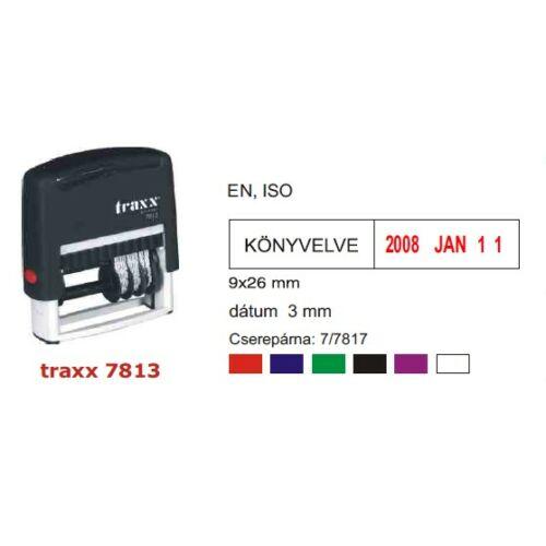 TRAXX 7813HU fekete dátumbélyegző + szöveg
