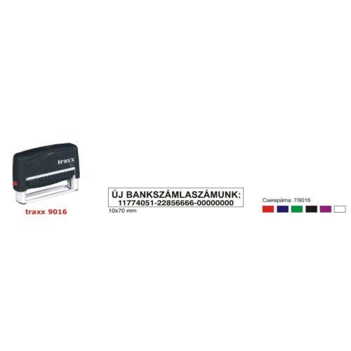 TRAXX 9016 fekete szövegbélyegző 10x70mm