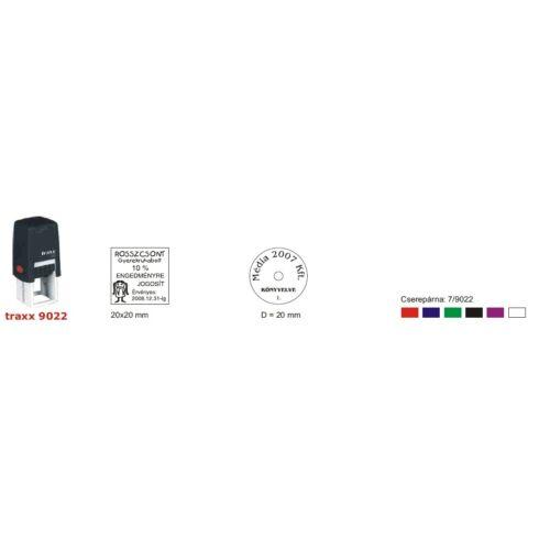 TRAXX 9022 fekete szövegbélyegző 22x22mm