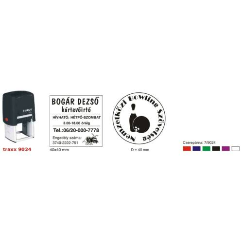 TRAXX 9024 fekete szövegbélyegző 40x40mm
