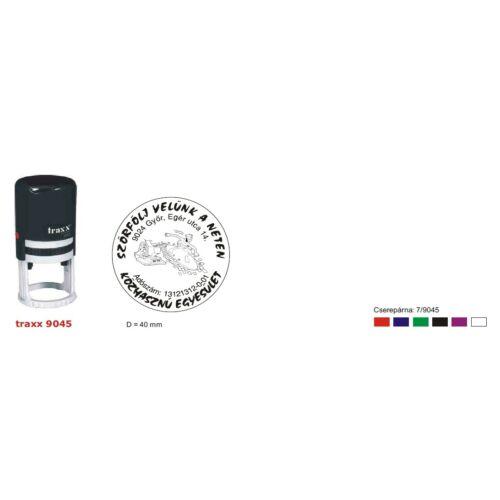 TRAXX 9045 fekete szövegbélyegző 45mm kör