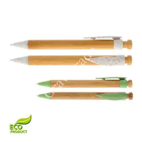 Bambusz golyóstoll levél formájú klipsszel - ELEFÁNTCSONT