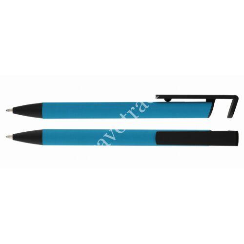 Alumínium golyóstoll mobiltartóval - Világos kék