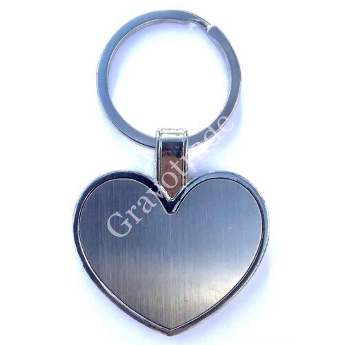 Fém kulcstartó nagy szív szálrahúzott belső résszel