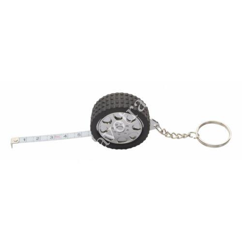 Kerék alakú kulcstartó mérőszalaggal