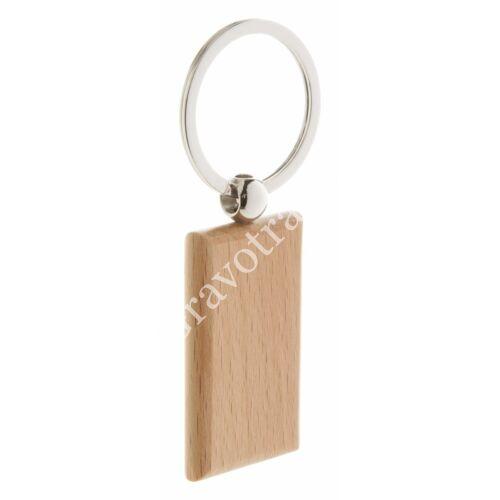 Téglalap alakú fa kulcstartó közvetlen karikával