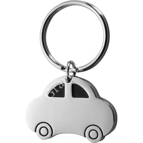 Autó formájú nikkelezett fém kulcstartó