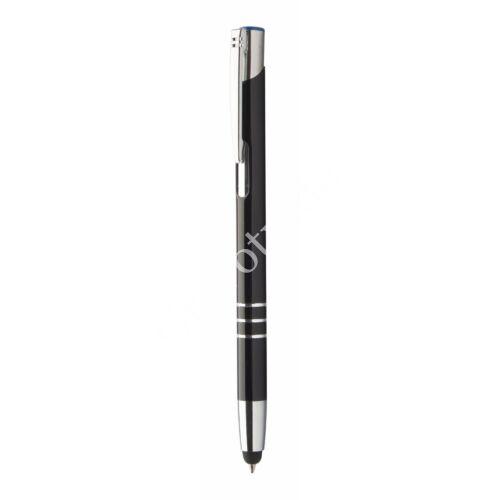 3 gyűrűs fém érintőképernyős toll ,színes gravírral - Kék