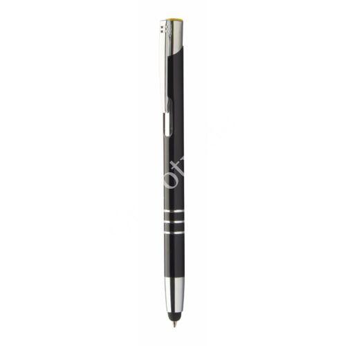 3 gyűrűs fém érintőképernyős toll ,színes gravírral - Sárga