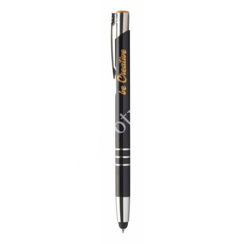 3 gyűrűs fém érintőképernyős toll ,színes gravírral - Narancs