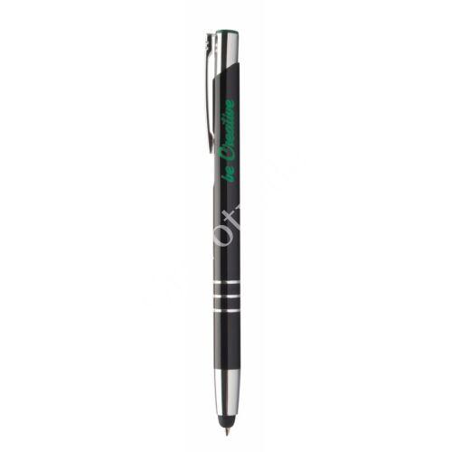 3 gyűrűs fém érintőképernyős toll ,színes gravírral - Zöld