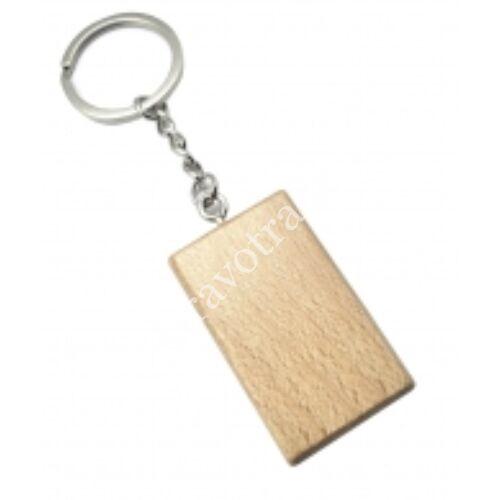 Téglalap alakú fa kulcstartó lánccal, karikával